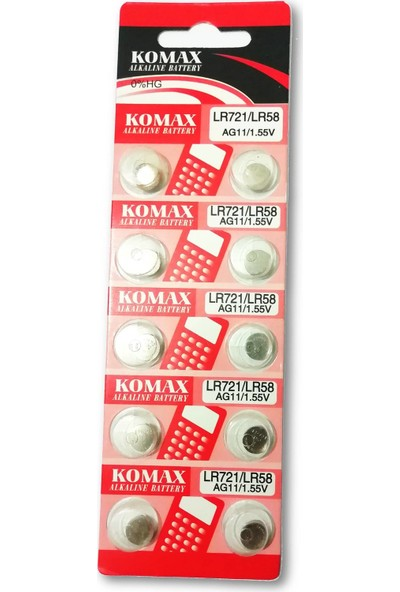 Komax Alkalin Pil - AG11 / LR721 Düğme Pil 1,55V - 10'lu Paket