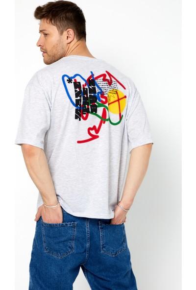 Tarz Cool Erkek Gri Oversize Bisiklet Yaka Kısa Kollu Ön Ve Arka Baskılı T-Shirt-Appnoachr06S