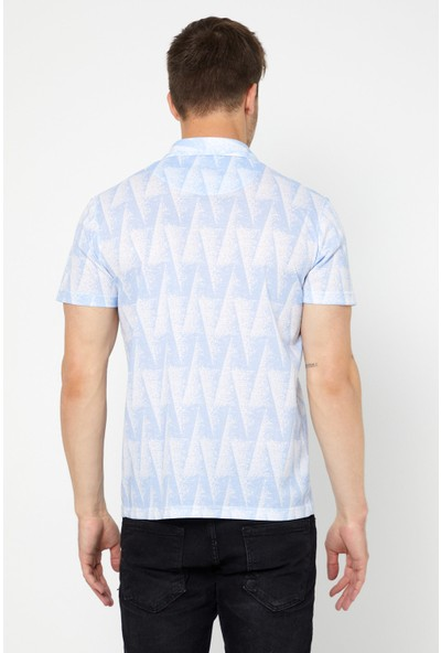 Tarz Cool Erkek Mavi-Beyaz Modelli Slim Fit Polo Yaka-Ypoloyakr06S