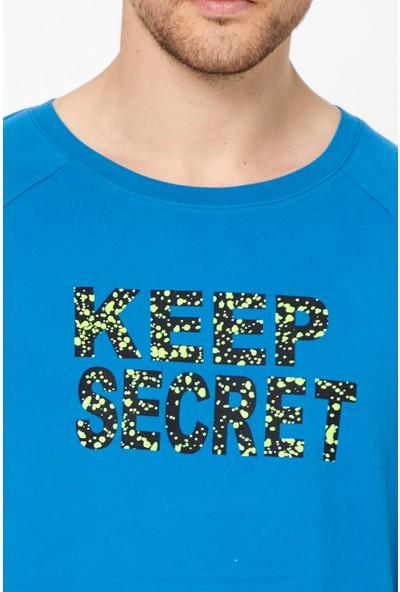 Tarz Cool Erkek Mavi Basic Kısa Kollu Oversize Yazılı T-Shirt-Keepscrtr01S