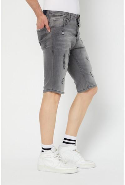 Tarz Cool Erkek Füme Slim Fit Destroylu Kot Şort-Dnmsrtr0329