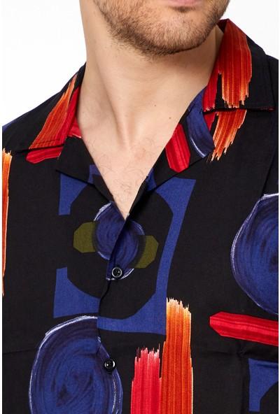 Tarz Cool Erkek Siyah-Kırmızı Modelli Slim Fit Apaçi Yaka Gömlek-Mntrgmlkr02S