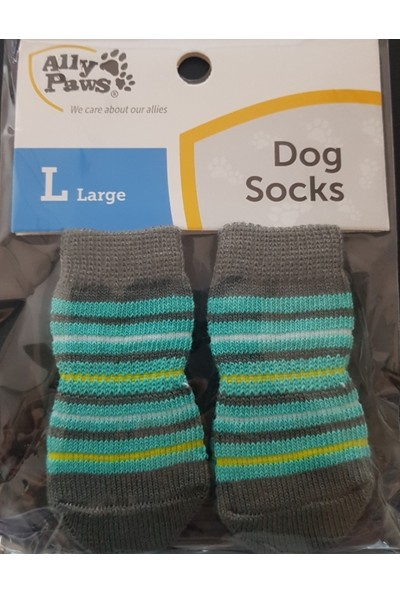 Little Friends Köpek Çorabı Large Gri -Yeşil - Sarı Renk