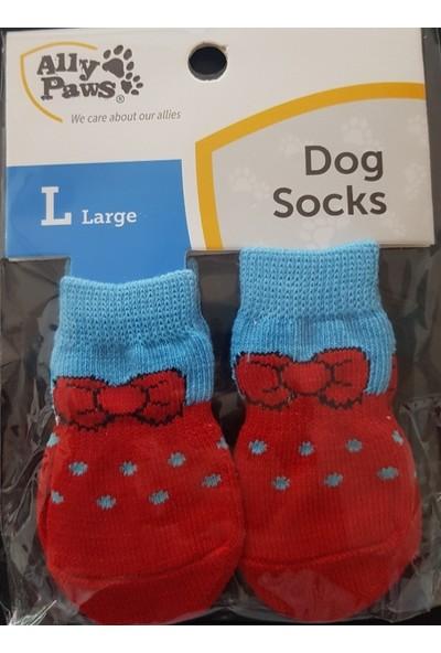 Little Friends Köpek Çorabı Large Kırmızı - Mavi Renk ve Desenli