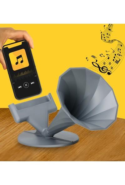 Hamaha Akustik Gramafon Masa Üstü Dekoratif Telefon Tutucu Megafon