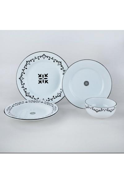 Keramika 6 Kişilik Siyah-Beyaz Sultan Yemek Takımı