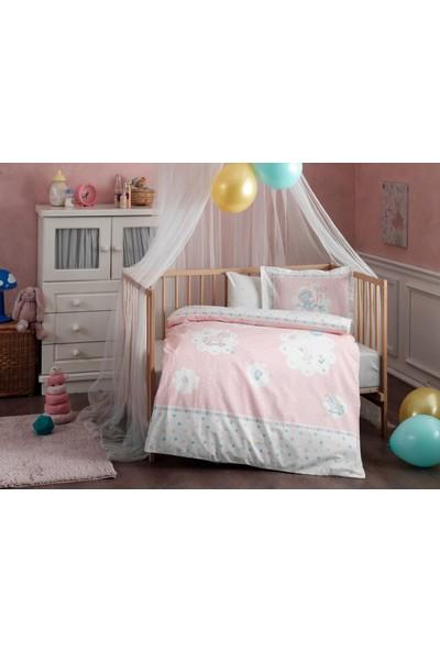 Taç - Fairy Pembe Pamuklu Bebek Nevresim Takımı