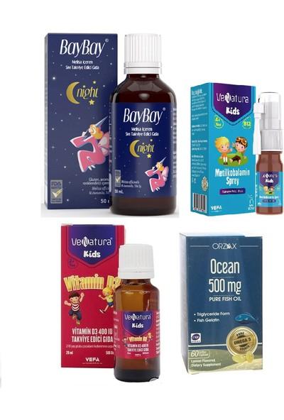 Çocuklar Için Set Baybay Night Damla 50 Ml+Ocean Balık Yağı 60 Kapsül+Venatura B12 ve D3 Vitamini