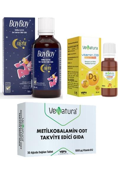 Yetişkinler Için B12 Vitamini 30 Tablet + D3 Vitamini 20 ml Damla+Baybay Night Damla 50 ml