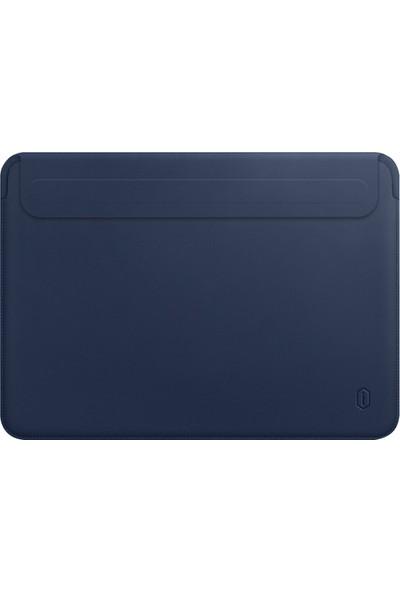 "Wiwu Laptop Notebook Bilgisayar Çantası Deri Ince Mıknatıslı Kapak MacBook Air A1932 A2179 A2337 13"" Mavi"