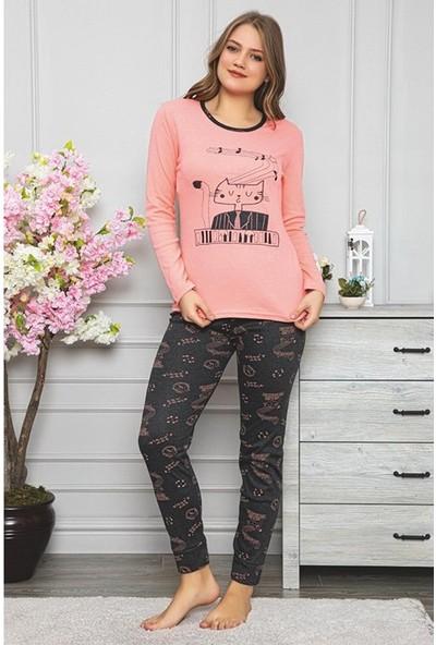 Rinda Kedicik ve Nota Detaylı Kadın Pijama Takımı 5399 Pembe Pembe - L