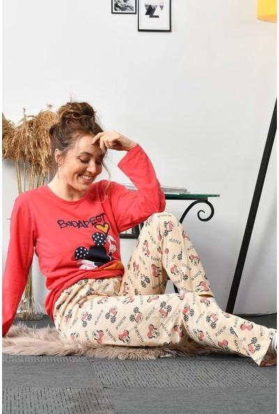 Rinda Çizgi Film Karakteri Baskılı Pijama Takımı 5176 Nar Çiçeği Nar Çiçeği - Xxl