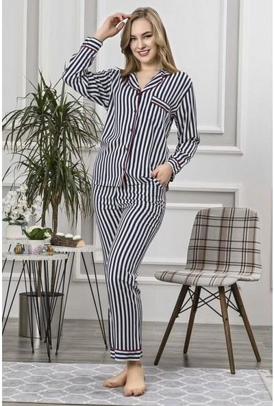 Manolya Lacivert Dikey Çizgili Pijama Takımı 2414-2 Lacivert Lacivert - S