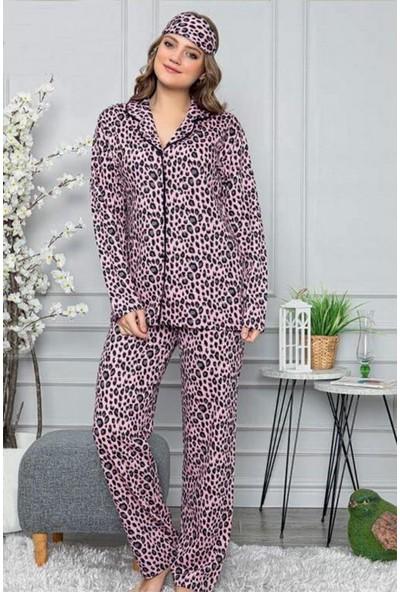 Manolya Leopar Baskılı Önden Düğmeli Kadın Pijama Takımı 2446 Pembe Pembe - Xl