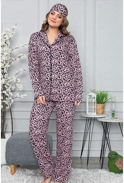 Manolya Leopar Baskılı Önden Düğmeli Kadın Pijama Takımı 2446 Pembe Pembe - M