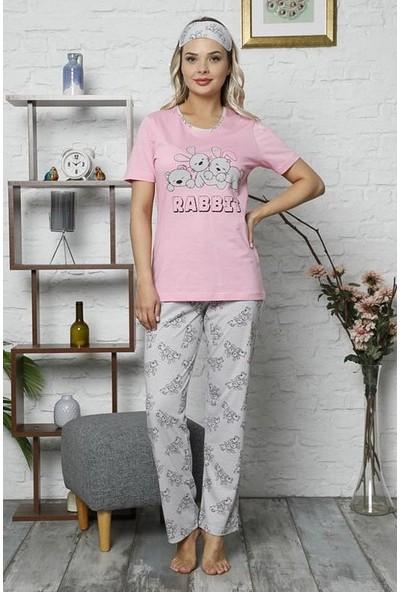 Manolya Tavşan Desenli Pijama Takımı 2416 Pembe-Gri Pembe/gri - M
