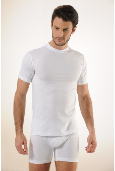 Hmd 602 6'lı %100 Pamuklu Süprem Kapalı Yaka Erkek Atlet - Beyaz