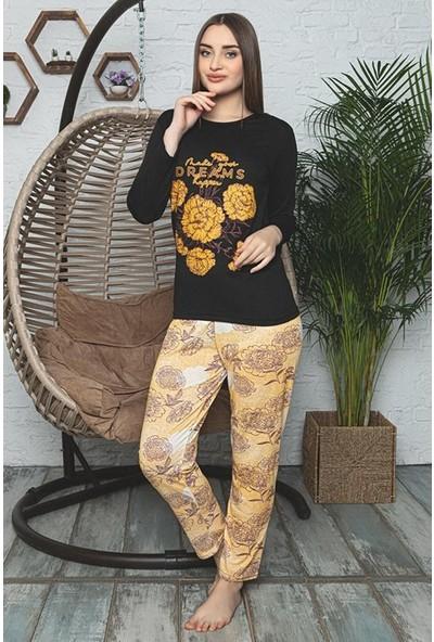 Rinda Çicek Desenli Kadın Pijama Takımı 5878 Sarı Sarı - Xl