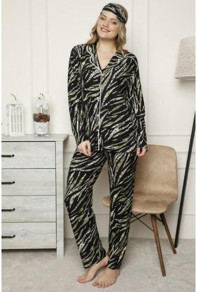 Manolya Desenli Önden Düğmeli Kadın Pijama Takımı 2453 Siyah Siyah - Xl