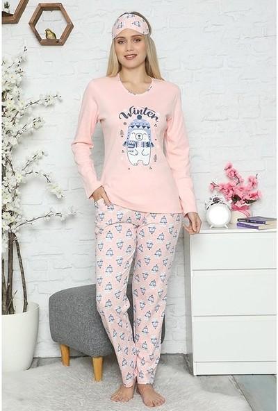Manolya Kış Temalı Kadın Pijama Takımı 2444 Pembe Pembe - L