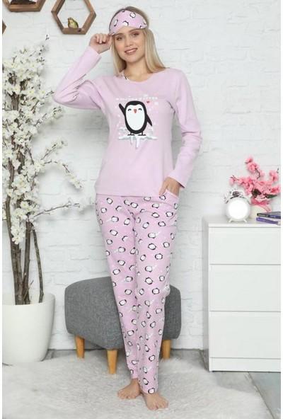 Manolya Penguen Desenli Kadın Pijama Takımı 2445 Lila Lila - Xl