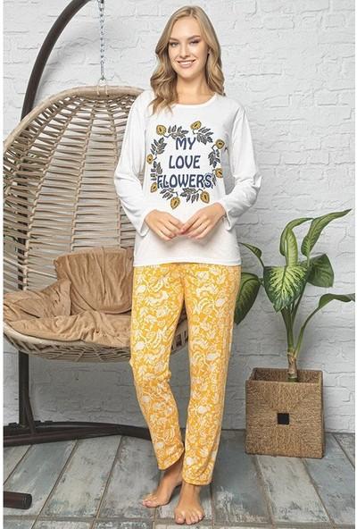 Rinda Çicek Desenli Beyaz Pijama Takımı 4312 Beyaz-Sarı Beyaz/sarı - M