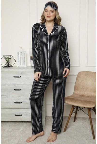 Manolya Çizgili Önden Düğmeli Kadın Pijama Takımı 2453 Lacivert Lacivert - Xl