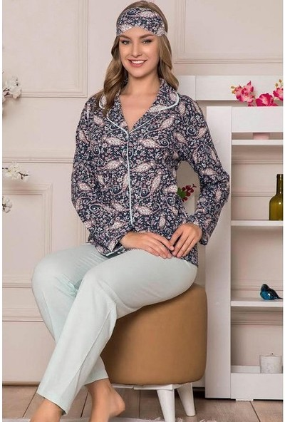 Manolya Yaprak ve Çicek Motifli Kadın Pijama Takımı 2434 Mavi Mavi - L