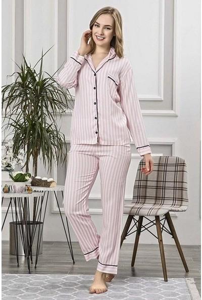 Manolya Pembe Dikey Çizgili Pijama 2414-1 Pembe Pembe - L