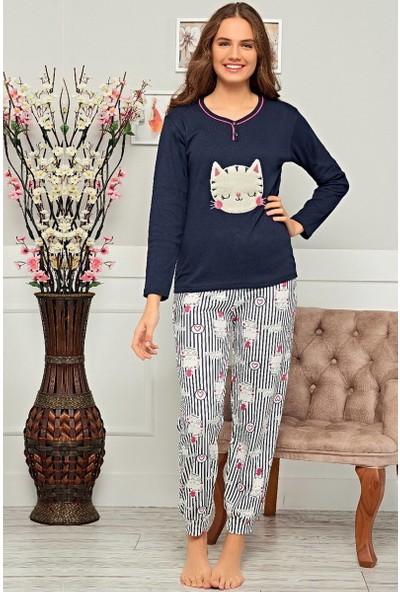 Baray Kedi Desenli Kadın Pijama Takımı - Lacivert Lacivert - M