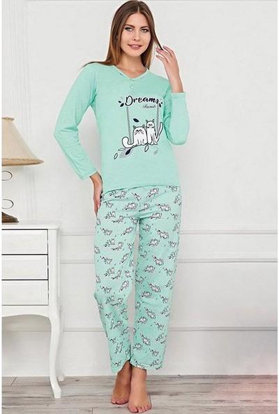 Baray Dreams Yazılı Kedi Desenli Kadın Pijama Takımı 0074 Mavi-Beyaz Mavi/beyaz - Xxl