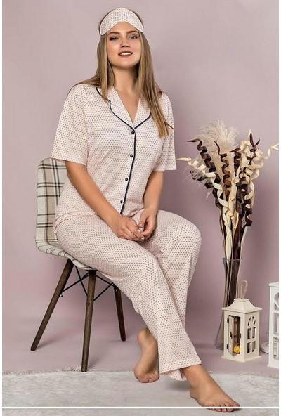 Manolya Puantiye Desenli Pijama Takımı 2418-2 Pembe Pembe - M