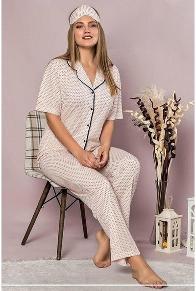 Manolya Puantiye Desenli Pijama Takımı 2418-2 Pembe Pembe - S