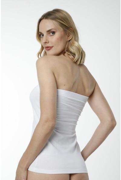 Hmd 2402 3'lü Straplez Pamuklu Body Kadın Atlet T-Shirt - Beyaz