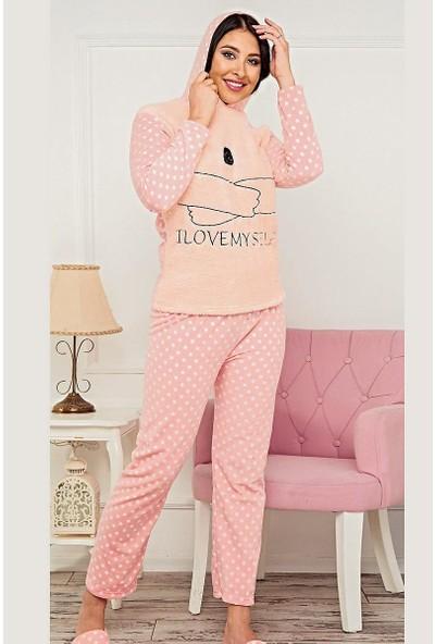 Baray Ayıcık Desenli Kadın Pijama Takımı 7024 Pembe Pembe - Xl