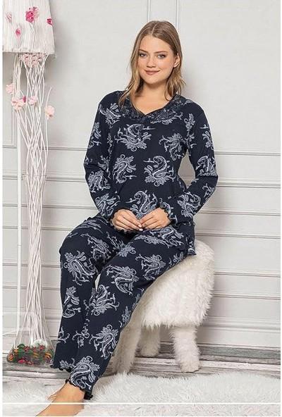 Manolya Etnik Desenli Pijama Takımı 7344 Lacivert Lacivert - L