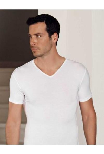 Hmd 712 Derin V Yaka Kısa Kollu Likralı T-Shirt - Beyaz