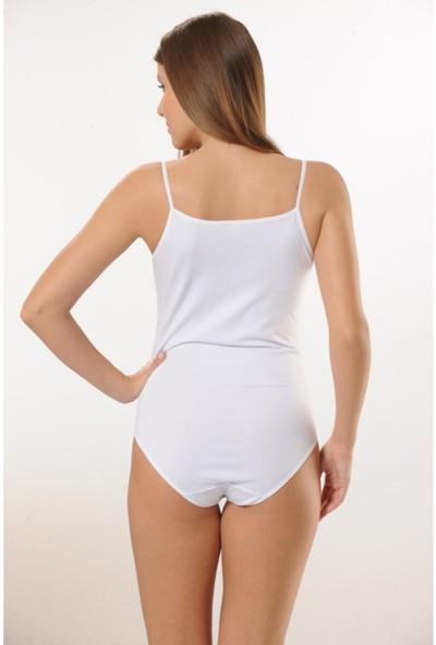 Hmd 3001 6'lı Ince Askılı Pamuk Çıtçıtlı Body - Beyaz