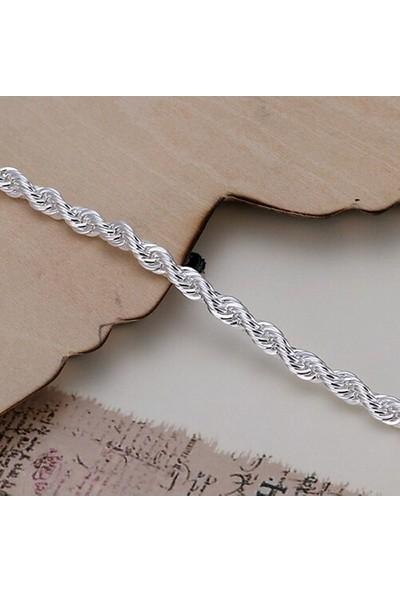 Takantakana 925 Ayar Gümüş Kaplama Örgü Bileklik