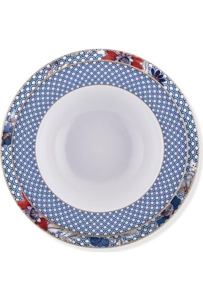 Bernardo Nuvola 6 Kişilik 24 Parça New Bone China Yemek Takımı Mavi