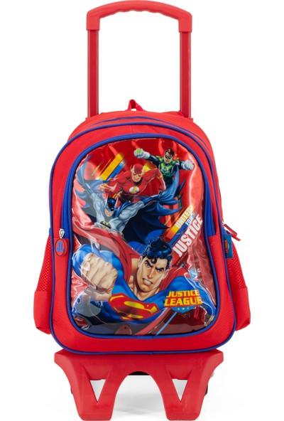 Hakan Çanta Justice League Karakterli Kırmızı Renk Erkek Çekçekli Ilkokul Sırt Çantası