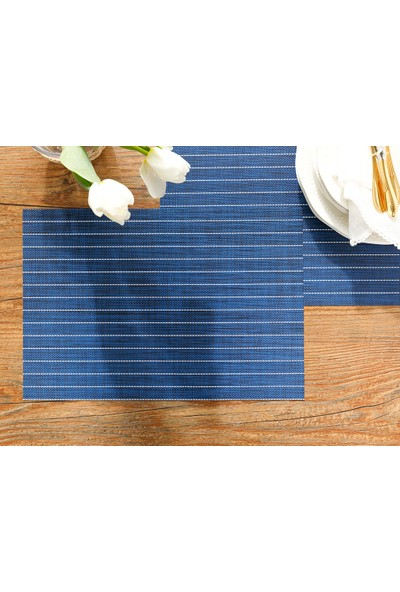 English Home 4'lü Vanity Lacivert 45 x 30 cm %75 Pvc %25 Polyester Amerikan Servis