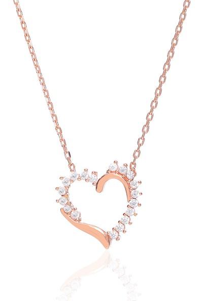 Trendy Takı 925 Ayar Gümüş Taşlı Kalp Kolye