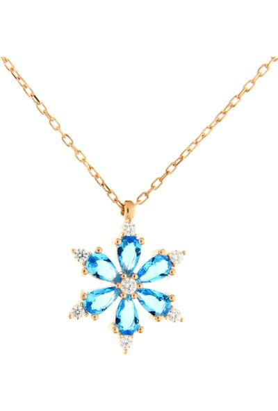 Trendy Takı 925 Ayar Gümüş Modern Mavi Taşlı Kar Tanesi Kolye
