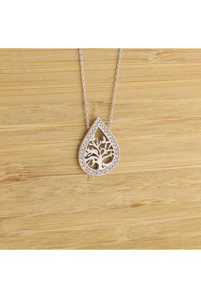 Trendy Takı 925 Ayar Gümüş Damla Taşlı Hayat Ağacı Kolye