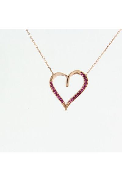 Trendy Takı 925 Ayar Gümüş Rose Renk Pembe Taşlı Kalp Kolye