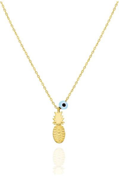 Trendy Takı 925 Ayar Gümüş Göz Taşlı Mini Ananas Kolye