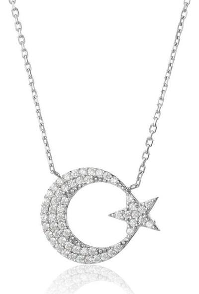 Trendy Takı 925 Ayar Gümüş Ay Yıldız Kolye