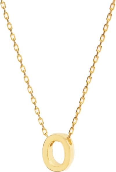 Trendy Takı 925 Ayar Gümüş Gold Renk O Harfi Kolye