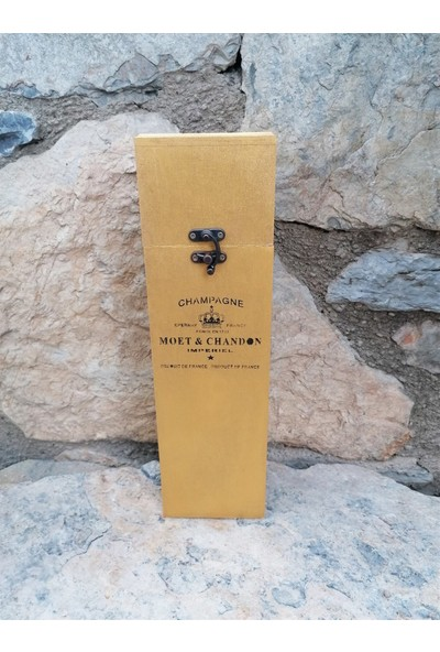 Baykon Ahşap Şarap Kutu 35X10X10CM Altın Sarı